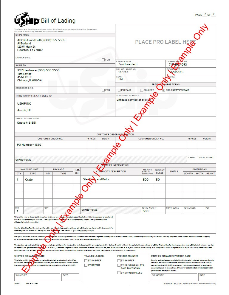 Bill Of Lading (Bol) - Uship Ltl Published Rates – Help Center